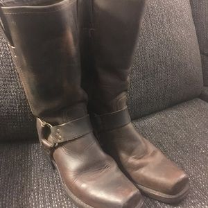 Frye Shoes - Frye brown leather harness boots 8.5